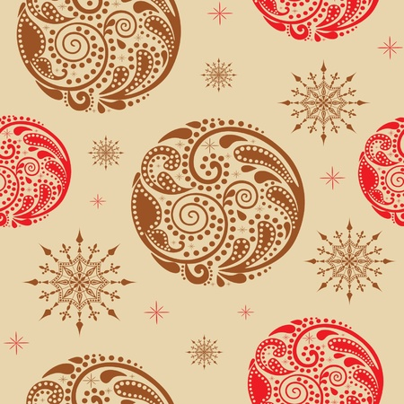 Vintage seamless texture with circles of leaf pattern.                       illustration.   Vector