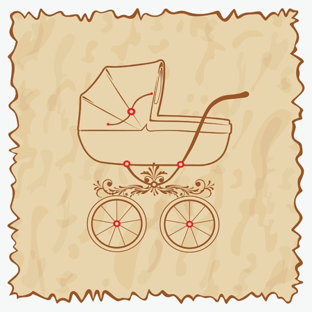baby scrapbook: Vintage baby carriage. illustration.