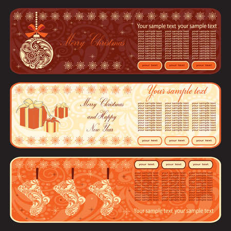 Christmas horizontal banner. illustration.
