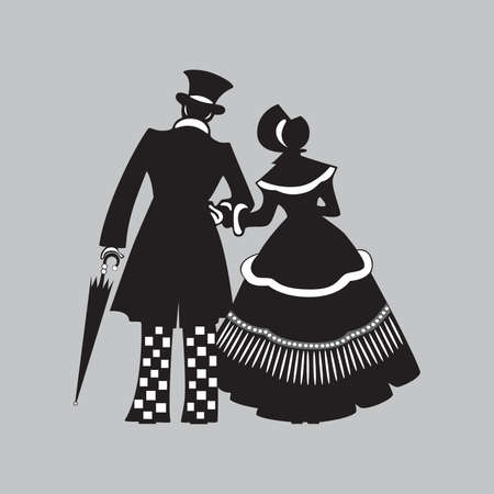Marche couple. illustration.