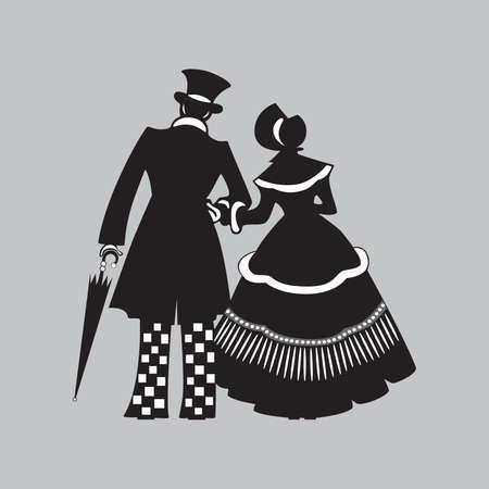 classic woman: Pareja caminar. ilustraci�n.