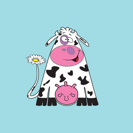 Funny cow. illustration.