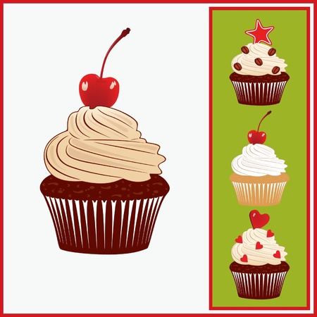 Set of appetizing cakes. Illustration