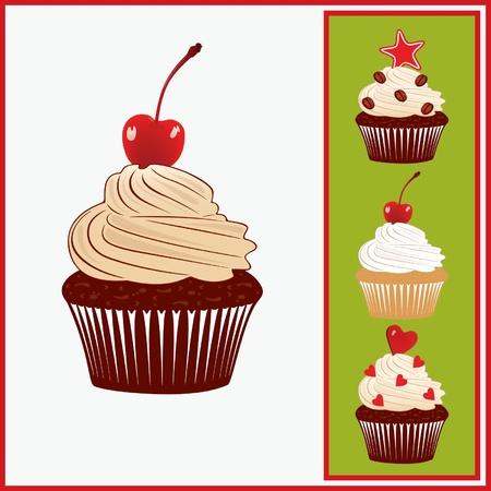 Set of appetizing cakes. Illustration