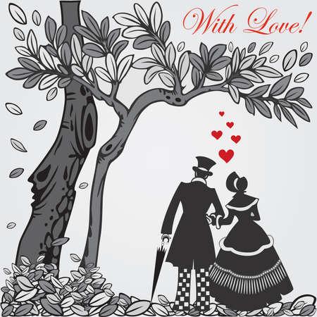 Carte de la Saint-Valentin avec un couple silhouette marcher dans l'amour. Illustration