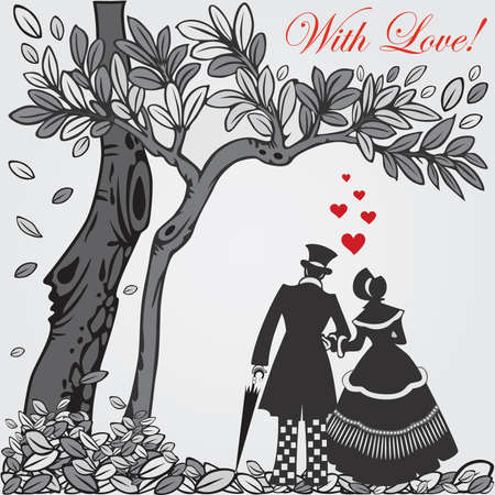 Valentine card with silhouette walking couple in love.