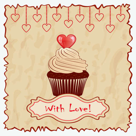 Vintage Valentine card with cake. Vector
