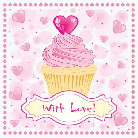 Valentine card with cake.