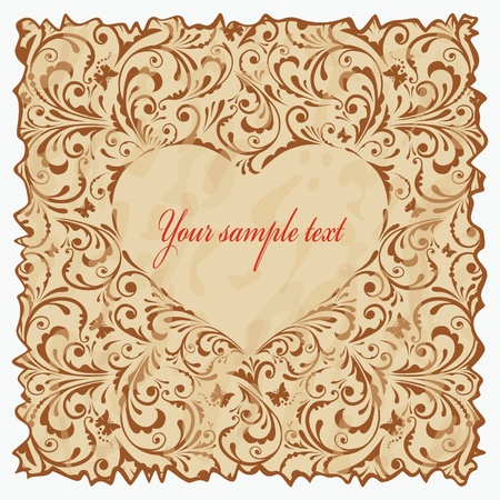 Vintage postcard with heart.  Vector
