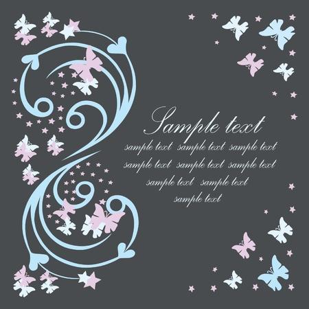 Carte postale avec des papillons.