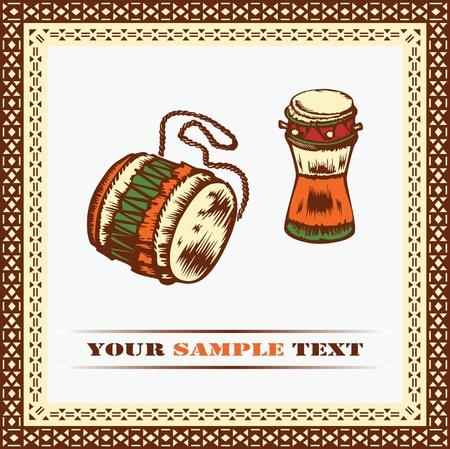 folk music: African drums.  Illustration