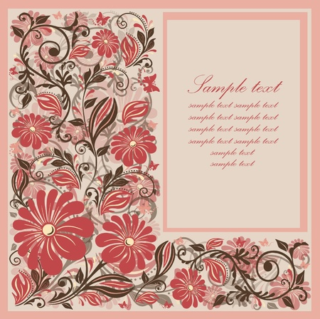 Flower card design. Vector