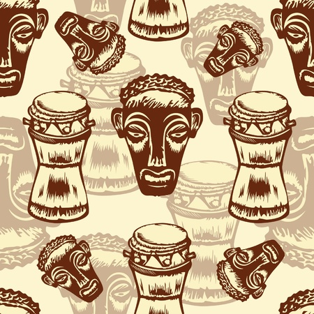 bongo drum: Seamless texture with African masks.  Illustration