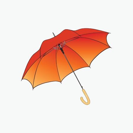 Parapluie orange sur fond blanc.