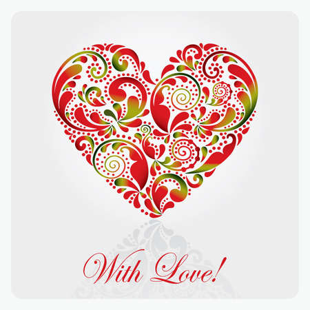valentine: Postcard with a beautiful heart made from the leaf pattern.