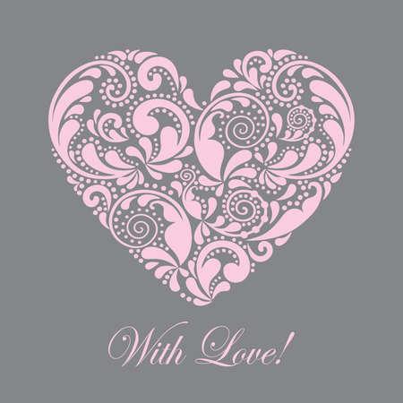 Carte postale avec un beau coeur rose.