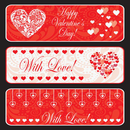 Valentine day web horizontal banner set.