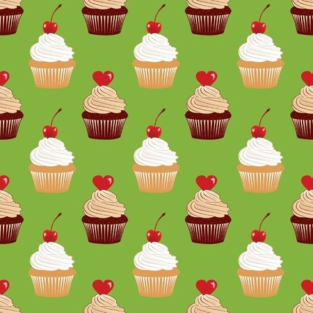 Green seamless texture with cakes pattern   Vector