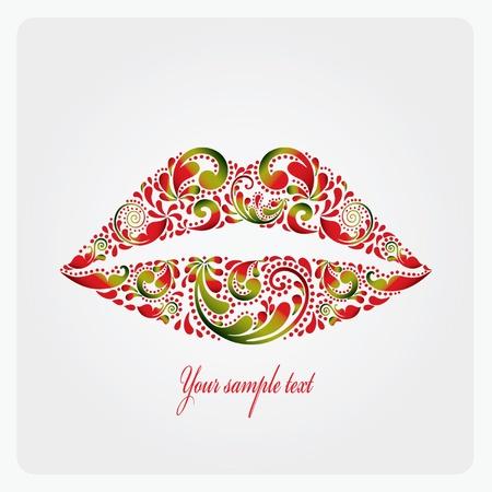 smooch: Los labios exuberantes son de patr�n de la hoja Vectores