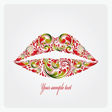 Lush lips are made of leaf pattern Stock Vector - 12791914