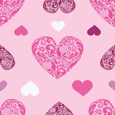 Seamless background texture with hearts