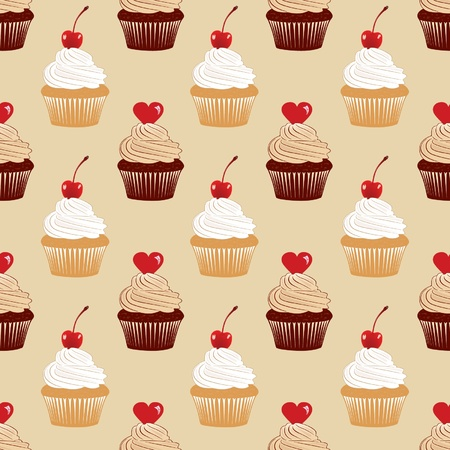 Seamless texture with cakes pattern Stock Vector - 12791965