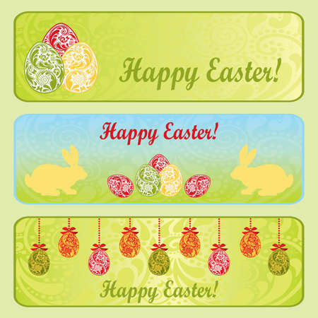 Easter horizontal banner set with Easter eggs and rabbit   Vector