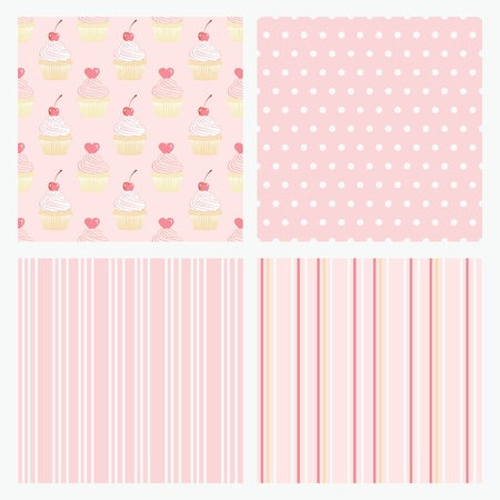 fancy pastry: Set pink confectionery seamless background