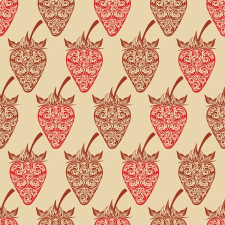Vector seamless background with strawberry
