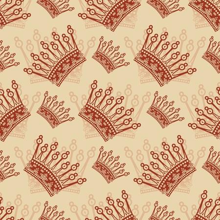 Vintage seamless background avec un motif couronne Illustration