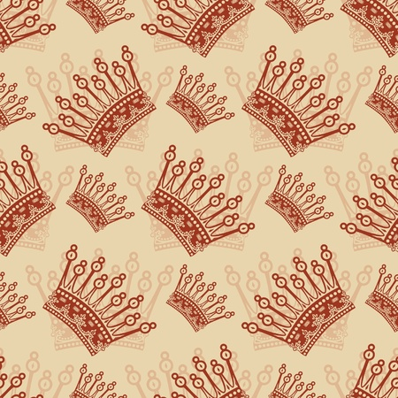 Vintage seamless background with crown pattern