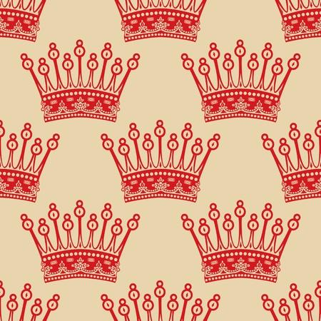 Vintage seamless background avec un motif couronne rouge Illustration