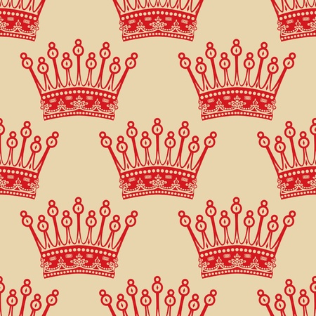 royal person: Vintage seamless background with red crown pattern