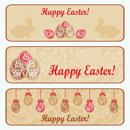 Vintage Easter horizontal banner set   Vector