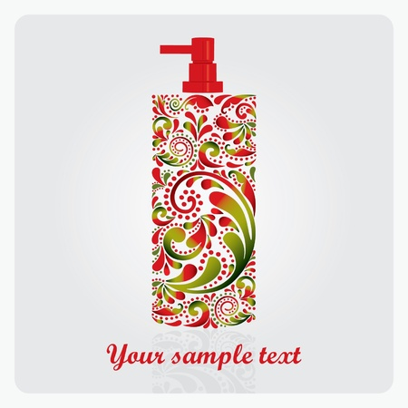 Bottle of lotion, made of the leaf pattern   EPS 10    Vector