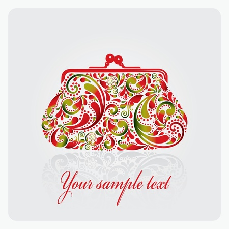 purse: Fashion women makeup bag, made of leaf pattern  Purse   Illustration