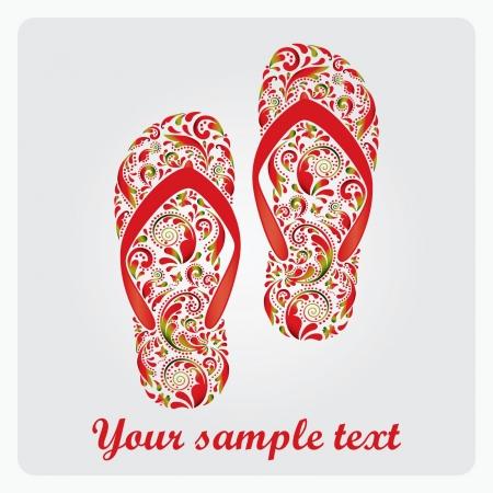 Flip flops, made of the leaf pattern Vector EPS10 illustration