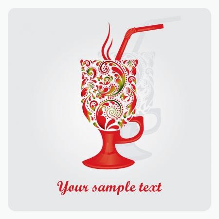 Tasse de caf� latte fabriqu� � partir du mod�le de feuille Illustration