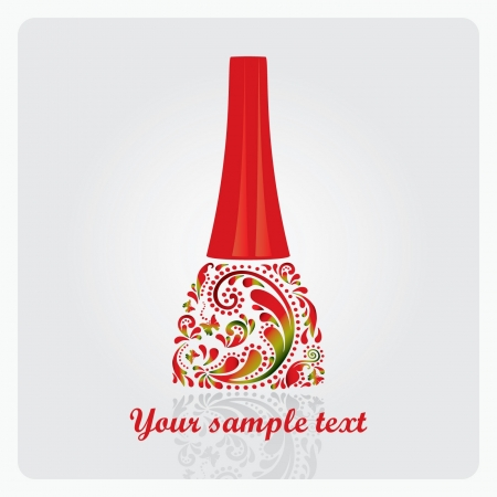 Nail polish made from the leaf pattern Vector