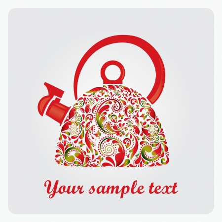 Beautiful teapot made from the leaf pattern  Vector