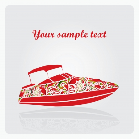 Stylized yacht made of flower patterns