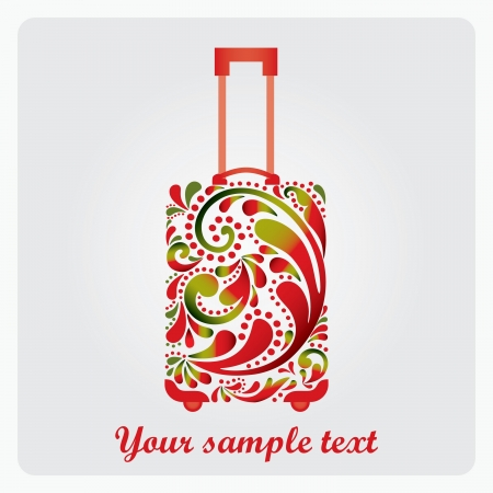 Beautiful fashion suitcase for travel  Made of a leaf pattern Stock Vector - 16842305