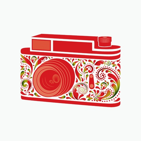 Photo camera  Made of a leaf pattern  Illustration