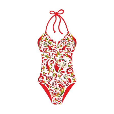 Swimsuit made   from a beautiful floral pattern  Illustration