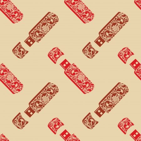 usb disk: Vintage seamless pattern USB flash drives, made of the leaf pattern.