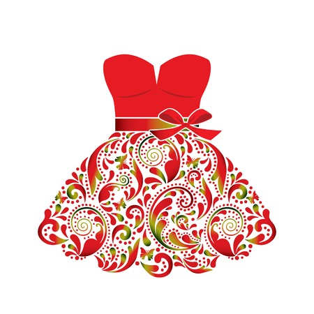 flower show: Beautiful dress, made of the leaf pattern.  Illustration