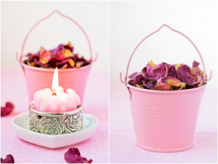 Beautiful spa setting with pink candle and rose petals. Collage. Valentines Day background.