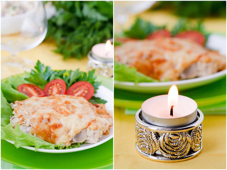 Photo set  Baked meat with mushrooms and bechamel sauce