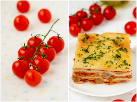 Italian lasagna collage with meat and tomatoes   Stock Photo
