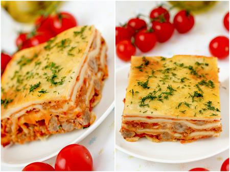 Italien collage de lasagne � la viande et tomates